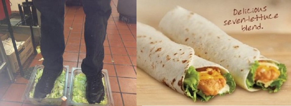 Burger King Employee Puts Foot In Lettuce!